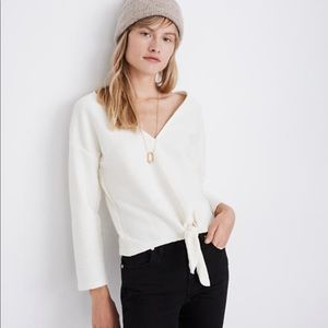 Texture & Thread Long-Sleeve Tie-Front Top